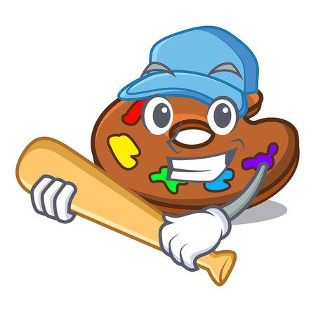 Playing baseball palette character cartoon style vector illustration Vector Illustratie