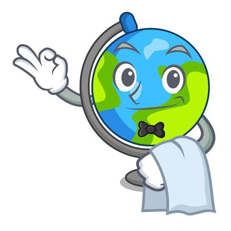 Waiter globe mascot cartoon style Illustration