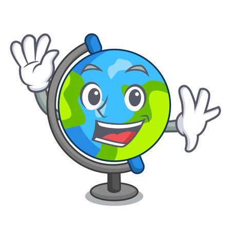 Waving globe character cartoon style vector illustration Vettoriali