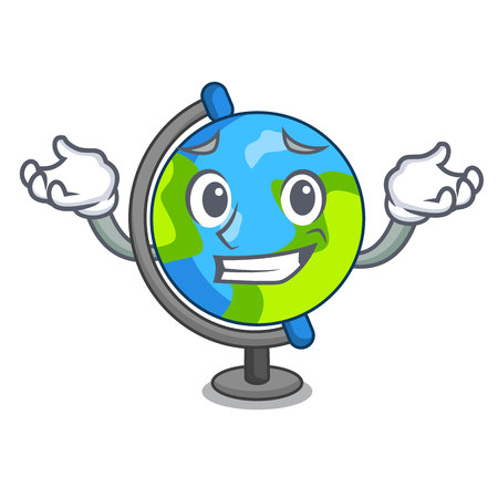 Grinning globe character cartoon style vector illustration