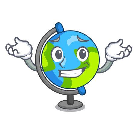 Grinning globe character cartoon style vector illustration