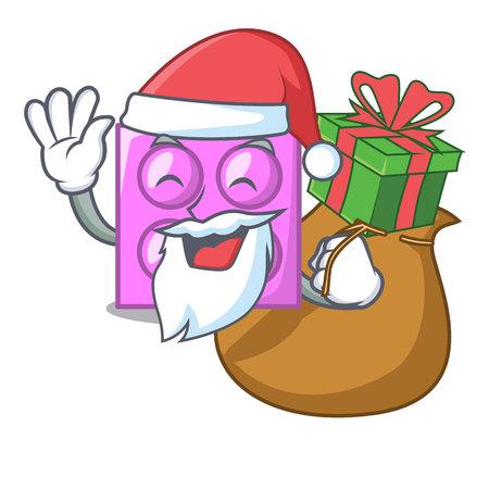 Santa with gift toy brick mascot cartoon vector illustration