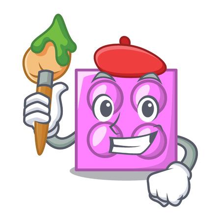 Artist toy brick character cartoon vector illustration