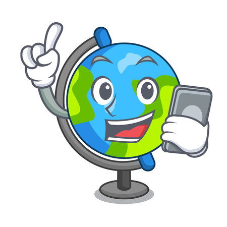 With phone globe character cartoon style vector illustration