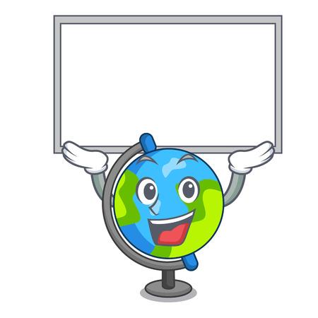 Up board globe character cartoon style