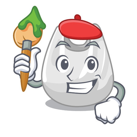 Artist plastic bag character cartoon vector illustration