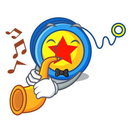Mit Trompete-Jojo-Maskottchen-Cartoon-Stil-Vektor-Illustration