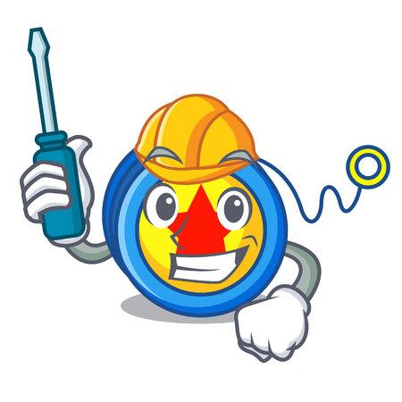 Automotive yoyo mascot cartoon style vector illustration Ilustrace