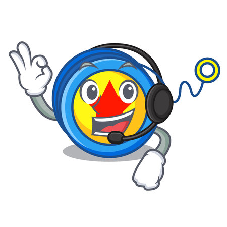 With headphone yoyo mascot cartoon style vector illustration 矢量图像