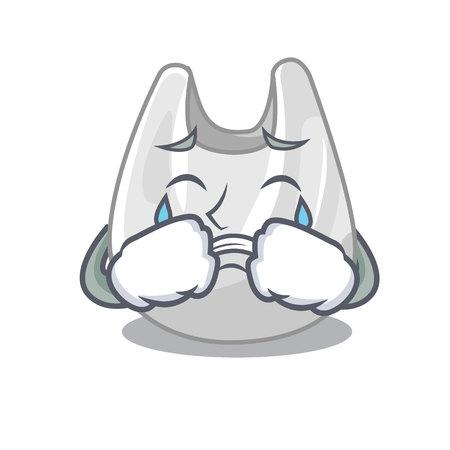 Crying plastic bag mascot cartoon vector illustration