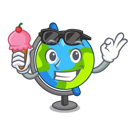 With ice cream globe character cartoon style vector illustration