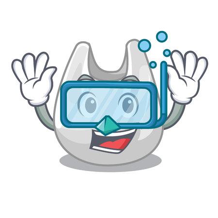 Diving plastic bag character cartoon vector illustration