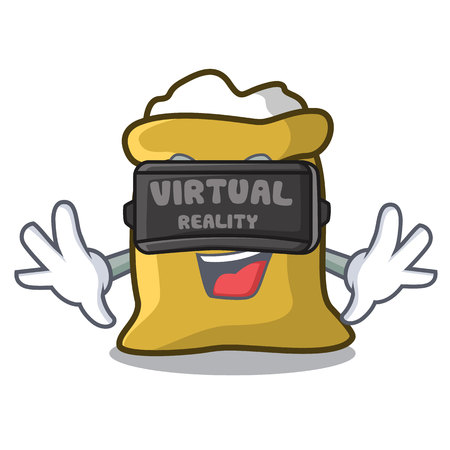 Virtual reality flour mascot cartoon style vector illustration