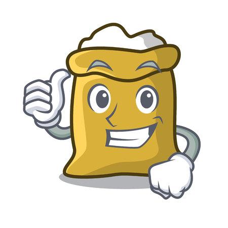 Thumbs up flour character cartoon style vector illustration