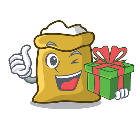 With gift flour mascot cartoon style vector illustration