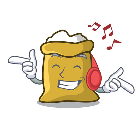 Listening music flour mascot cartoon style vector illustration
