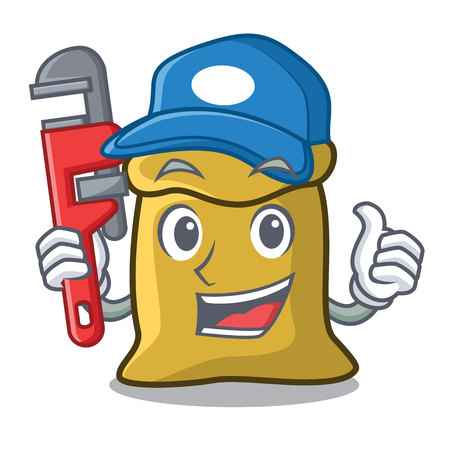 Plumber flour mascot cartoon style vector illustration