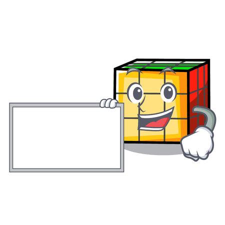 With board rubik cube character cartoon Vector Illustration