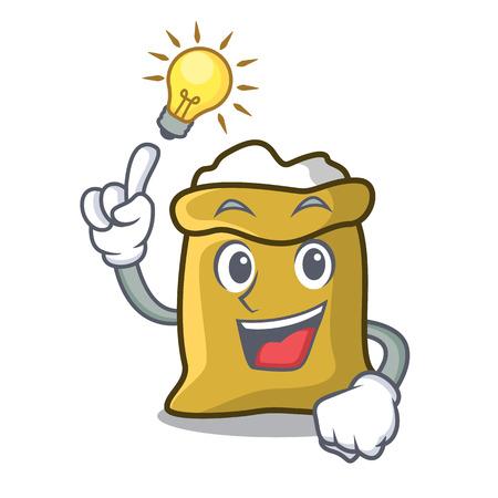 Have an idea flour mascot cartoon style vector illustration Illustration