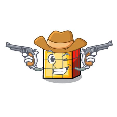 Cowboy rubik cube character cartoon