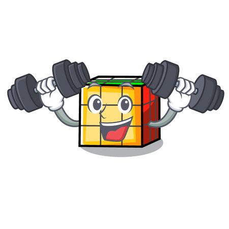 Fitness rubik cube character cartoon