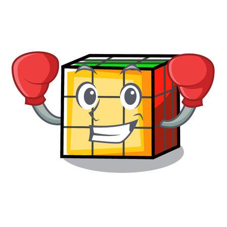Boxing rubik cube character cartoon Vector Illustration