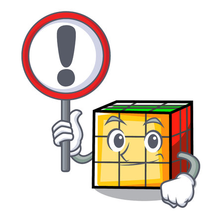 With sign rubik cube character cartoon Illustration
