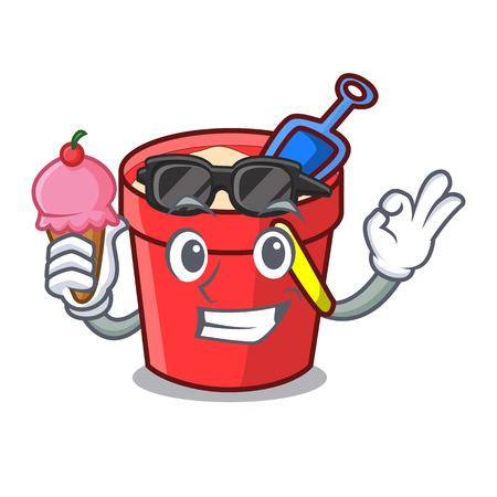 With ice cream sand bucket character cartoon vector illustration