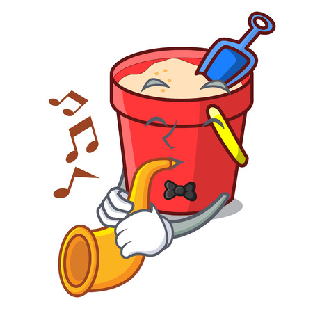 With trumpet sand bucket mascot cartoon vector illustration
