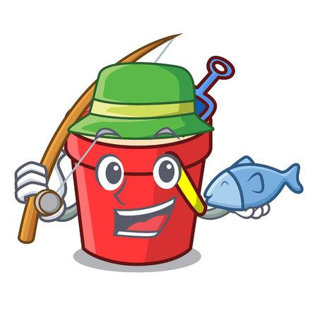 Fishing sand bucket mascot cartoon vector illustration