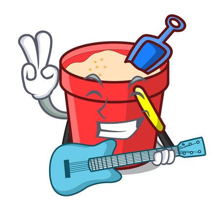 With guitar sand bucket mascot cartoon vector illustration