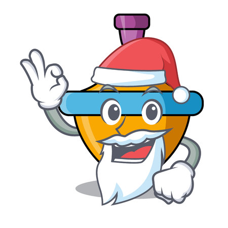 Santa spinning top mascot cartoon vector illustration Çizim