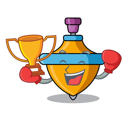 Boxing winner spinning top mascot cartoon vector illustration Çizim