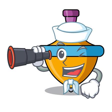 Sailor with binocular spinning top mascot cartoon vector illustration