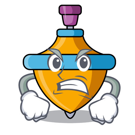 Angry spinning top mascot cartoon