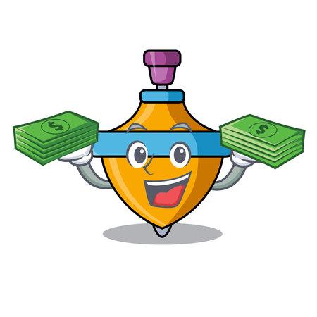 With money spinning top mascot cartoon Archivio Fotografico