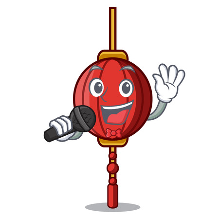 Singing chinese lantern mascot cartoon 矢量图像