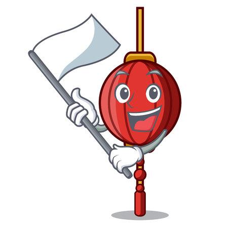 With flag chinese lantern mascot cartoon vector illustration