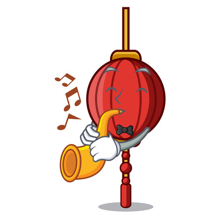 With trumpet chinese lantern mascot cartoon vector illustration