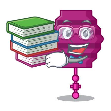 Student with book paper lantern mascot cartoon vector illustration Illustration