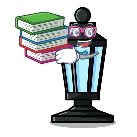 Student with book street lamp mascot cartoon vector illustration