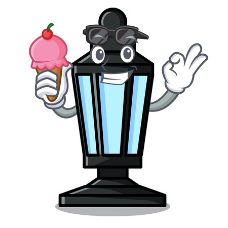 With ice cream street lamp character cartoon vector illustration