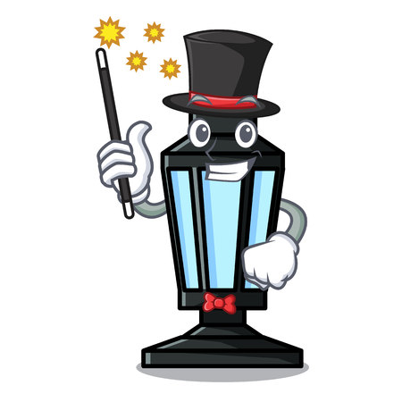 Magician street lamp mascot cartoon vector illustration