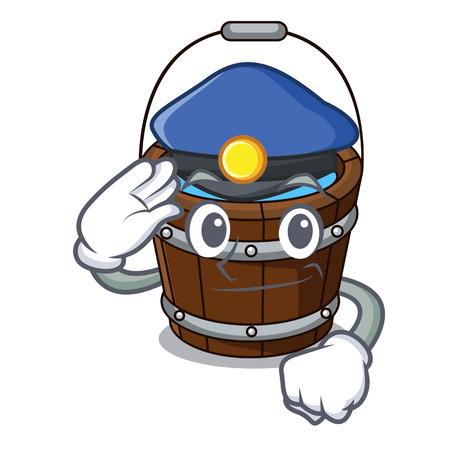 Police wooden bucket character cartoon vector illustration 向量圖像