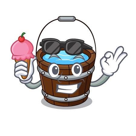 With ice cream wooden bucket character cartoon vector illustration