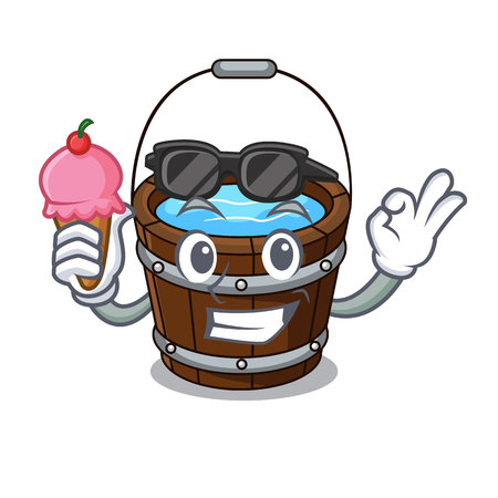 With ice cream wooden bucket character cartoon vector illustration