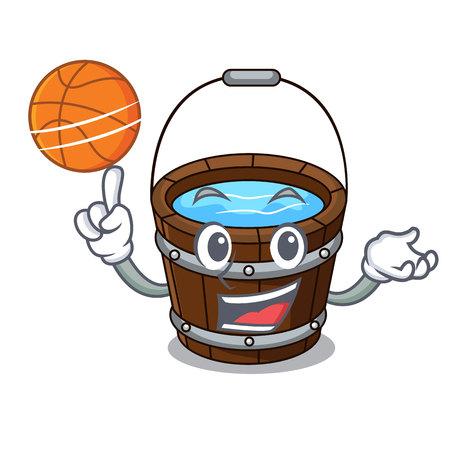 With basketball wooden bucket character cartoon vector illustration Illustration