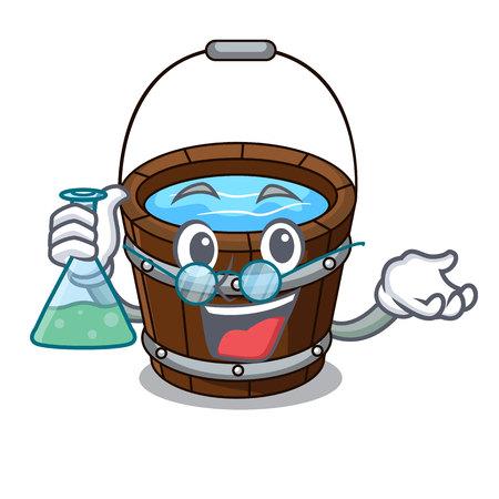 Professor wooden bucket character cartoon vector illustration