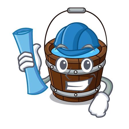 Architect wooden bucket character cartoon vector illustration