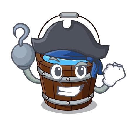 Caricature de personnage de seau en bois pirate